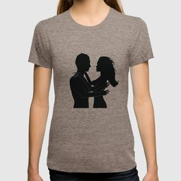 The love silhouettes of man and woman in black color T-shirt