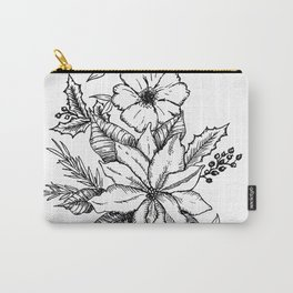 Poinsettia Florals & Winter Berries Carry-All Pouch