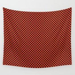 Tangerine Tango and Black Polka Dots Wall Tapestry
