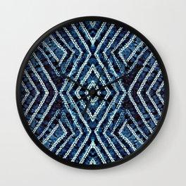 Blue African Dye Resist Fabric Adire Boho Chic Wall Clock