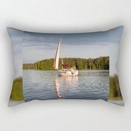 white boat sailing view Rectangular Pillow