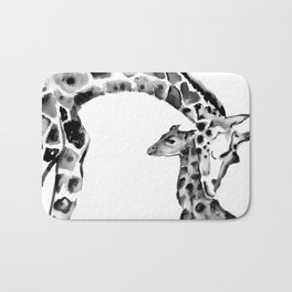 Black and white giraffes Bath Mat