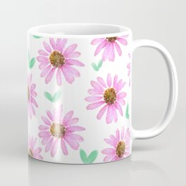 Pink Flower 21 with Leaves Coffee Mug