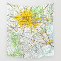 houston Wall Tapestries featuring Houston old map by Larsson Stevensem
