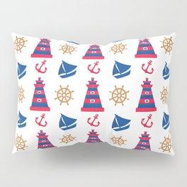 Modern blue red orange watercolor nautical pattern Pillow Sham