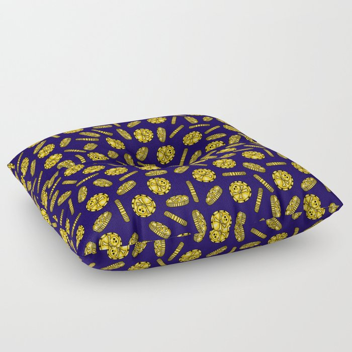 Golden Pirate Doubloon Pattern Floor Pillow by timorouseclectic