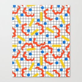 Primal - memphis throwback squiggle circle geometric grid lines dots trendy hipster 80s retro cool Canvas Print