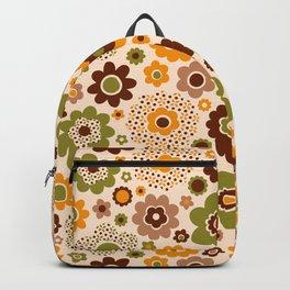 Retro 70s funky flowers brown, orange, green Backpack