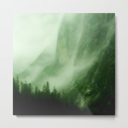 Midnight Mist Illuminated By Northern Lights Metal Print