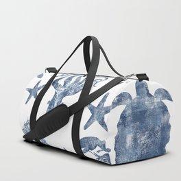 Delft Blue nautical Marine Life pattern, coastal beach Duffle Bag