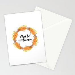 Hello Autumn lettering in Wreath with colorful leaves and flowers Stationery Cards