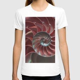 Closeup of red ammonite shell T-shirt