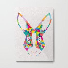 Rainbow Rabbit Metal Print