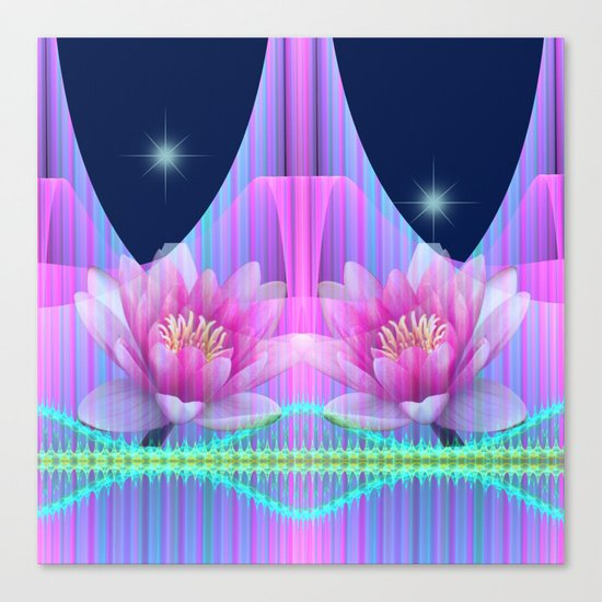 Magical night with Lotus flowers Canvas Print