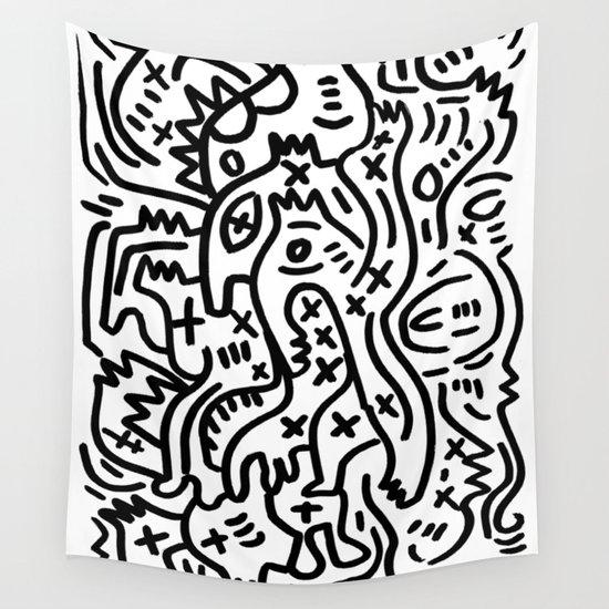 Street Wall Art Black And White : Graffiti street art black and white wall tapestry by