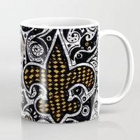 fleur de lis Mugs featuring Fleur de Lis Gold by Janin Wise