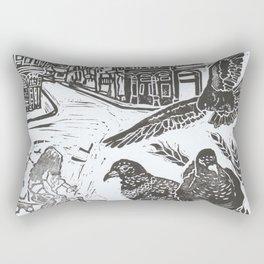 Bedford Square, Feeding pigeons lino cut Rectangular Pillow