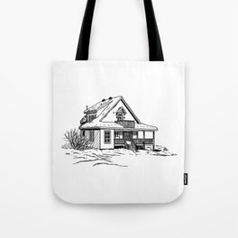 Winter Cottage Ink Tote Bag