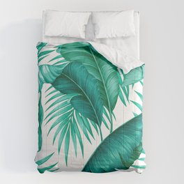 HAWAIIAN GARDEN TROPICAL LEAVES | turquoise white Comforters