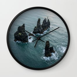 Sea stacks on the Icelandic Coast near Vik - Landscape Photography Wall Clock
