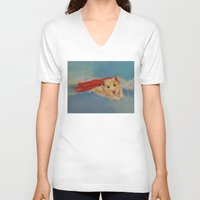 superhero V-neck T-shirts featuring Hamster Superhero by Michael Creese