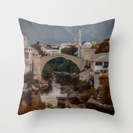 An Old bridge in Mostar Throw Pillow