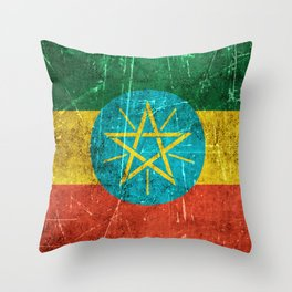 Vintage Aged and Scratched Ethiopian Flag Throw Pillow