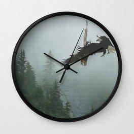Battle for the Cedars - Bald Eagles Wildlife Scene Wall Clock
