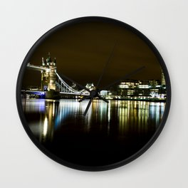 Night photo of Tower Bridge London with light reflections Wall Clock