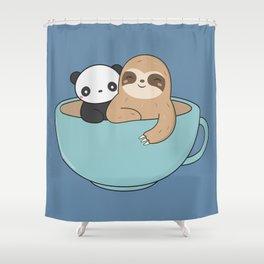 Kawaii Cute Panda and Sloth Shower Curtain