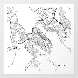 Halifax Map, Canada - Black and White Art Print