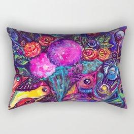 CRAZY BIRDS AND CRAZY FLOWERS Rectangular Pillow