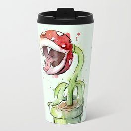 Piranha Plant Watercolor Geek Gaming Mario Art Travel Mug