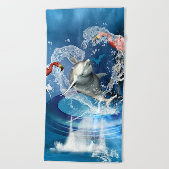 Dolphin jumping by a heart Beach Towel