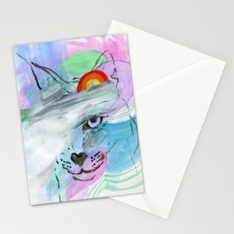 Coy Cat with Rainbow Stationery Cards