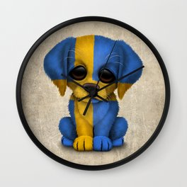 Cute Puppy Dog with flag of Sweden Wall Clock