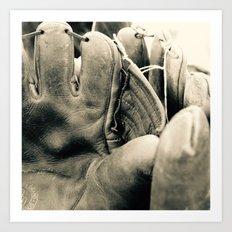Vintage Baseball Gloves Art Print