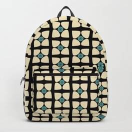 Tear Drop Flower Petals Sunflower Graphic Teal Cream Black Backpack
