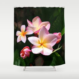 Love's First Blush Hawaiian Plumeria Shower Curtain