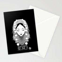 Akha Hilltribe Lady / Black Stationery Cards