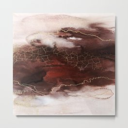 Modern Earthy Brown and Gold Abstract Metal Print