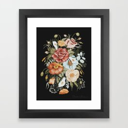 Roses and Poppies Bouquet on Charcoal Black Framed Art Print