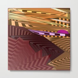 Striped landscap with stylised mountains, sea and violet Sun. Metal Print