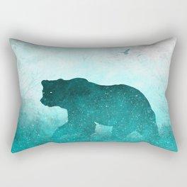 Teal Ghost Bear Rectangular Pillow