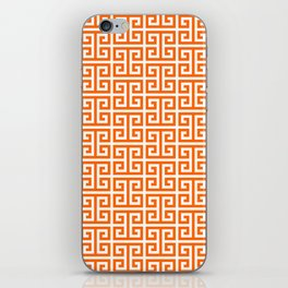 Orange and White Greek Key Pattern iPhone Skin