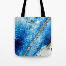 Blue Skies [2]: a pretty, abstract mixed-media piece in blue, gold and white Tote Bag