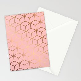 Pink and Gold Geometry 011 Stationery Cards