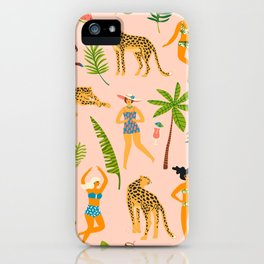 Beach Girl & Leopard iPhone Case