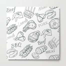 Funny Meat Food Art Metal Print