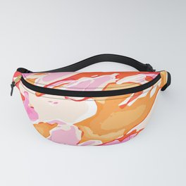 orange brown and pink camouflage graffiti painting abstract background Fanny Pack
